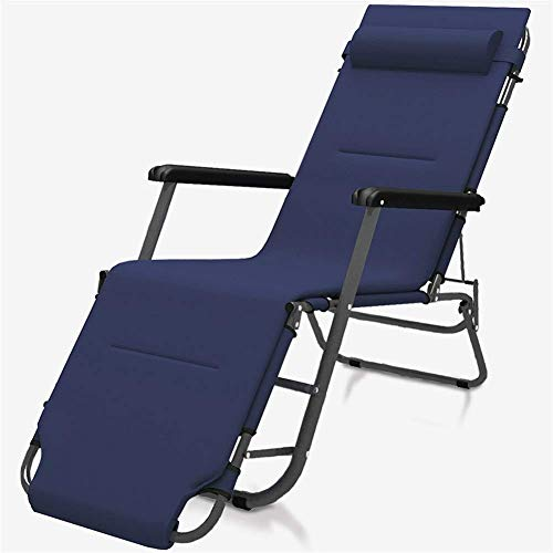 YVX Garden Chair Metal Sun Lounger, Folding Sunbed Rust-Resistant, with Breathable Synthetic Fabric, 2 Position Adjustment 1784630cm, 100 Kg Max c2014 (Size : with Cushion)