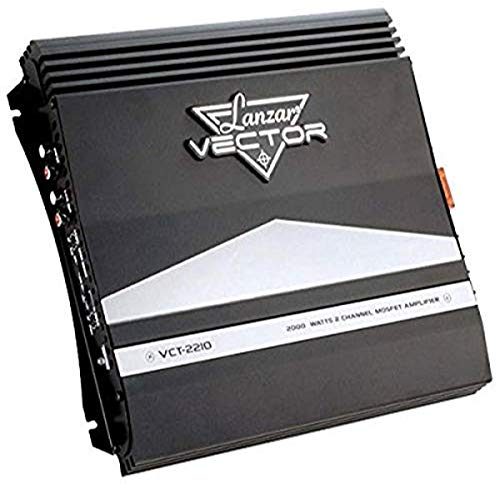 2-Channel High Power MOSFET Amplifier - Slim 2000 Watt Bridgeable Mono Stereo 2 Channel Car Audio Amplifier w/ Crossover Frequency and Bass Boost Control, RCA input, and Line Output - Lanzar VCT2210