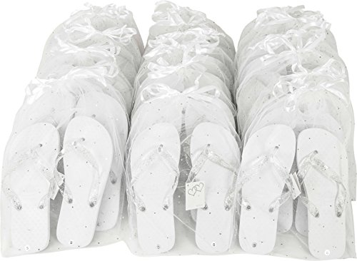 ZOHULA Weiß Hochzeit Flip Flops Partypaket - 20 Paare Flip-Flops Sx3 (35-37) Mx12 (38-39) Lx5 (40-42)