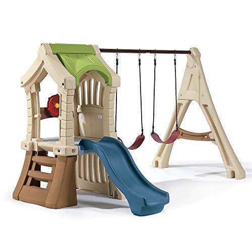 Beauty.Scouts Kinderspielhaus Pumba aus Kunststoff 213,4x283,2x190,5cm bunt mit Schaukel + Rutsche Kunststoffspielhaus Spielhaus Kinder Spiel Haus Outdoor
