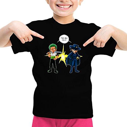 T-Shirt Enfant Fille Noir One Piece parodique Zorro Roronoa : d'un Z Qui Veut dire. (Parodie One Piece)