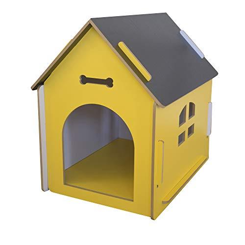 thematys Perrera de Madera para Perros I Casa para Perros para Uso Interior y Exterior I Lugar para Dormir a Las Mascotas I Resistente a la Intemperie y a los arañazos (L (58 x 44 x59 cm), Style 1)