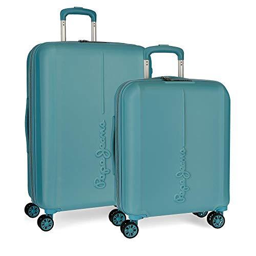 Pepe Jeans Glasgow Juego de maletas Azul 55/70 cms Rígida ABS Cierre TSA 115L 4 Ruedas dobles Equipaje de Mano