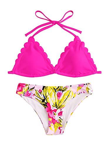 SweatyRocks Women's Sexy Bathing Suits Scallop Halter Bikini Top Floral Print Two Piece Swimsuits Hot Pink Medium