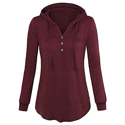 BHYDRY Frauen Langarm Knopf Bluse Pullover Tops Mit Taschen (EU-44/CN-XL, Wein P-P)