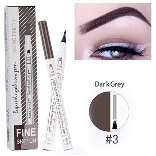 Fork Tip Microblading Eyebrow Tattoo Tint Pen Fine Sketch Liquid Enhancer Pencil Waterproof (C)