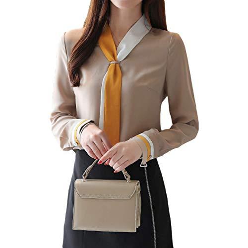 Blusa Otoo Moda Retro Costura Suelta Camisa de Gasa de Manga Larga para Trabajo de Oficina, Eventos Formales e Informales XL