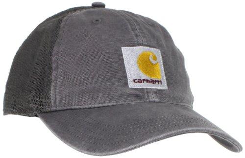 Gorra estructurada en lavado vintage con visera precurvada, parte trasera de malla y parche con el logotipo de Carhartt en la parte delantera. Ajuste ajustable con cierre de plástico. Absorbe la humedad.