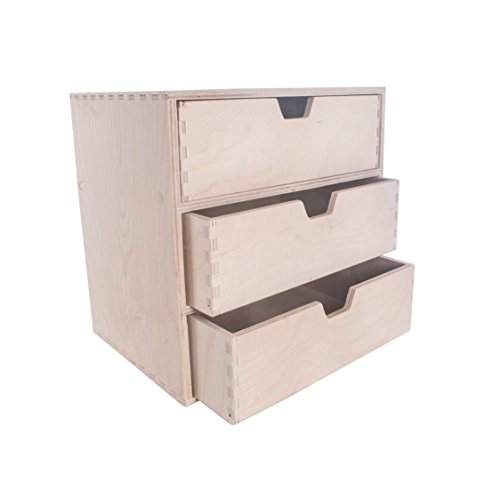 SEARCH BOX Recherche Boîte en Bois avec 3 tiroirs Boîte de Rangement/Organiseur de Bureau de bureau/28.5 x 20.5 x 28.5 cm