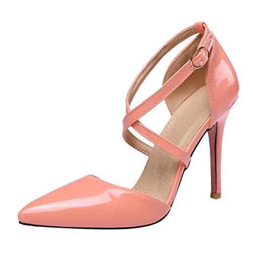 Zegeey Damen Sandalen High Heels Mit Absatz Kreuzgurt Lackleder Spitz Pumps Elegant Schicker(Rosa,35 EU)