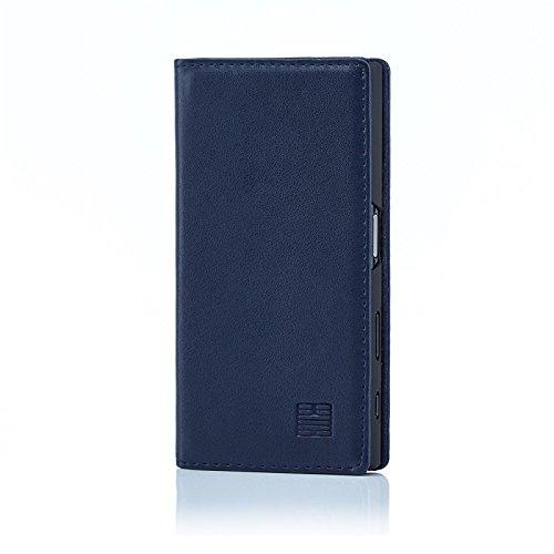 32nd Klassische Series - Lederhülle Hülle Cover für Sony Xperia X Compact, Echtleder Hülle Entwurf gemacht Mit Kartensteckplatz, Magnetisch & Standfuß - Marineblau