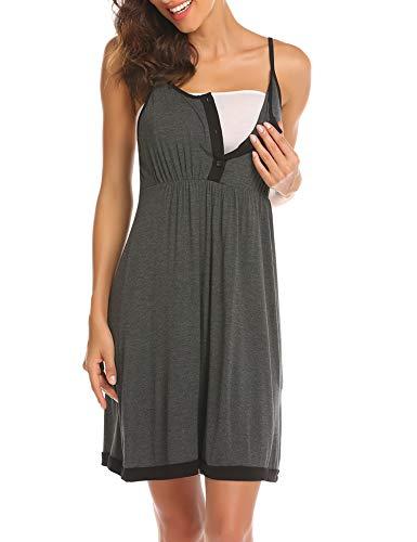 Balancora Umstandskleid Nachthemd Umstandsmode Damen Umstandsnachthemd/Still-Nachthemd für Schwangere Nachthemd-Nachtwäsche zum Stillen