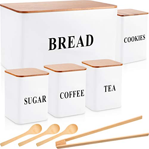 9 Pieces Kitchen Canister Set Includes Metal Bread Bin Storage Canister Tins, 4 Food Storage Container for Coffee Tea with Spoon and Tong (7 x 7 x 13/4.5 x 4.5 x 6.5/4 x 4 x 5 Inch, White)