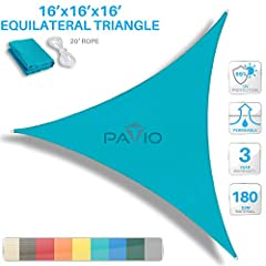 """Important: Our shade sails have curved sides to enhance pull strength and prevent drooping; this can add 1""""-8"""" in side length. Middle-center of sail will be shorter in width due to curves. If straight sides are preferred please contact us. Read descr..."""