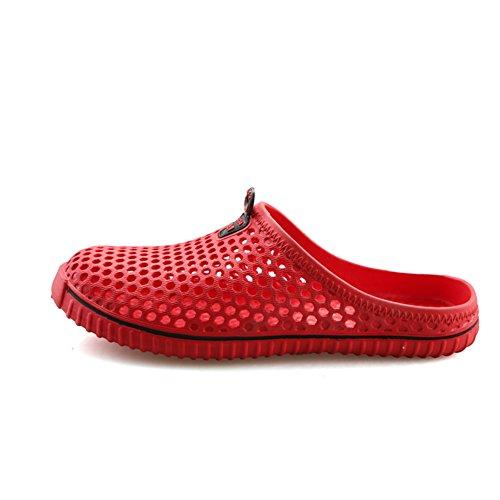 Zapatillas de Jardín Hombre Mujere Zuecos De Playa Transpirables Zapatillas de Casa en Verano Rojo 41