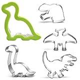 Dinosaur Sandwich Cookie Cutter Set-5 Piece-Trex, Brachiosaurus, Pterosaur Dinosaur Head Footprint, Dinosaur Mold for Kids