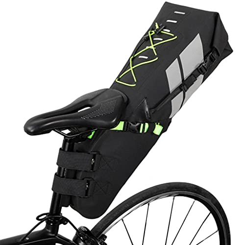 HJSW Bike Saddle Bag Waterproof Bike Bag Under Seat Bicycle Storage Pouch Wedge Pack Rainproof Cycling Professional Accessories for Mountain Road MTB Bike, Black (Size : 10L)