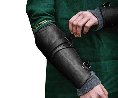 Syktkmx Faux Leather Gauntlet Wristband Bracer Arm Armor Cuff Buckled Punk Gothic Medieval Costume Vambrace (one_Size, 1-Black)