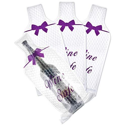 Ikkle Sacs Emballage pour Bouteilles de Vin Réutilisable Étanche, Sac de Transport pour Bouteille de Vin Protection pour Vin Rouge Champagne Idéal pour Voyager Transport en Valise en Avion, Lot de 4