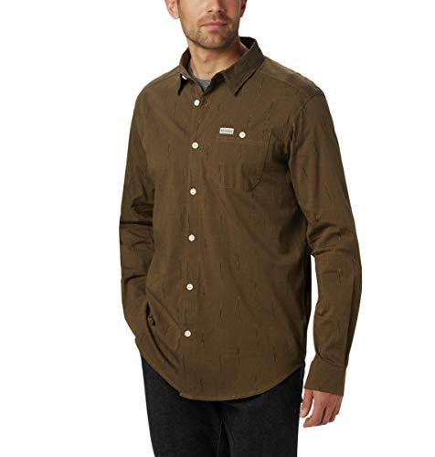 Columbia Men's Boulder Ridge Long Sleeve Shirt, Olive Brown Chambray Ikat, Large