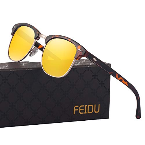 Night Driving Glasses Mens Sunglasses - FEIDU Night Vision Glasses for Driving FD3030 (yellow-leopard)