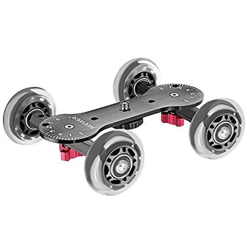 Neewer Kamerawagen Skater Design skaliert, Aluminiumstangen, drehbare Gummiräder, 0,6 cm / 0,9 cm Gewinde, für DSLRs/Video-Camcorder, Schwarz, Ladekapazität 10 kg