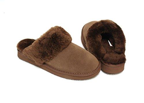 Lammfell Pantoffel Slipper Damen Hausschuhe braun mit braunen Fell mit Comfort Sohle - sehr warm (41 EU, Braun)