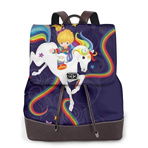 Rainbow Brite y Starlite Memories Mujeres Moda Mochila de Cuero Genuino Niñas Viajes Escuela Mini Bolso de Hombro