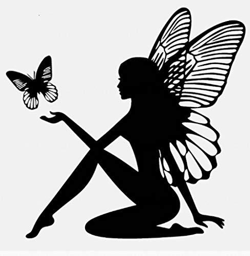 ZHXMD Mariposa Hada Etiqueta Engomada del Coche Fantasía Etiqueta del Coche Vinilo Decoración Negro 9Cm * 18.4Cm