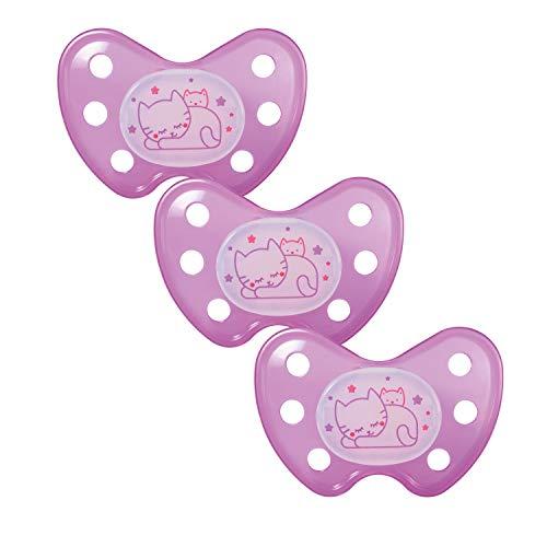 Dentistar® Night Silikon-Schnuller - Größe 3 - ab 14 Monaten - Baby Nacht Leuchtschnuller - Nuckel leuchtend im Dunkeln - zahnfreundlich - Made in Germany - BPA frei - Katze lila