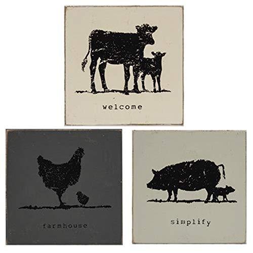 HAPPY DEALS ~ Farmhouse Animal Blocks Signs | Set of 3 | Simplify Welcome Farmhouse | 3.75 inch