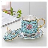 Sterling Silver Liner TEATUP Smalto Tazza di tè Tazza con Coperchio e Maniglia Tazza di Ceramica 11,5 oz Giallo e Blu Donne Filtro Tazza di tè (Color : Blue)
