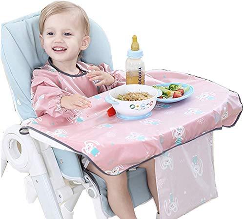 PewinGo Ärmellätzchen Baby Ärmellätzchen Befestigt Sich an Ihrem Hochstuhl, Baby Lätzchen mit Ärmeln Wasserdicht, Bequem und Weich für BLW Mess-6 Monate bis 3 Jahre Alt (Rosa)