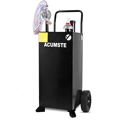 ACUMSTE 30 gallon gas caddy fuel transfer pump tank, Hand Siphon 2 Pump Flat-Free Solid Rubber Wheels Gasoline Storage Dispenser, Gas Containers for Car Boat Motorcycle Lawn Mowers Tractors