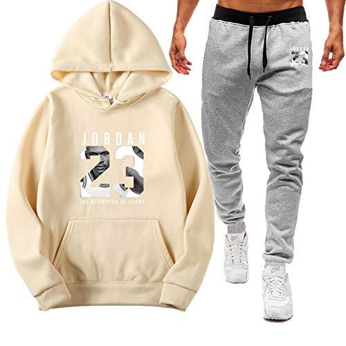ZGRW Juego de chándal para hombre Jordan 23# uniforme de baloncesto, pantalones para correr al aire libre, pantalones deportivos, pantalones para hombre y mujer, color beige-L