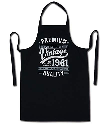 1961 Vintage Year - Aged To Perfection - 60th Birthday Gift / Present Mens Apron Black