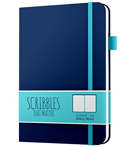 A5 Dotted Journal (160gsm) by Scribbles That Matter - Bullet Dot Grid Notebook - No Bleed Thick Fountain Pens Friendly Paper - Hardcover with Large Inner Pocket - Pro Version - Navy Blue