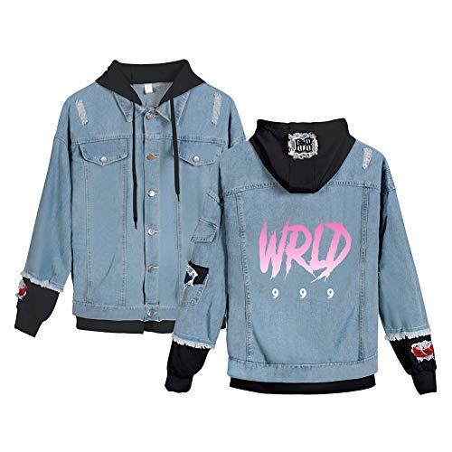 JUICE WRLD Giacca Jeans con Cappuccio Donna Felpe Bicolore Ragazza 2 in 1 Patchwork Giubbotti Denim Retro Cappotto Blazer Bottoni Soprabito Giubbotto Autuno Inverno Cardigan Jacket C04174NZ0122M