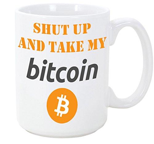 MUGFFINS Tasse als Geschenk für Cryptocurrency Investoren - Shut up and take My Bitcoins - 350 ml - Schöne und lustige Kaffeetassen mit Sprüchen, zu verschenken