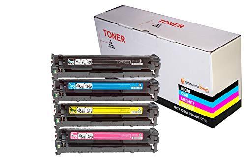CVT-CompraVentaToner - Pack 4 Toner Compatibles CB540A / CB541A / CB542A / CB542A 125A Para HP Laserjet CM1312 CP1215 CP1217 CP1514n CP1515n CP1518ni