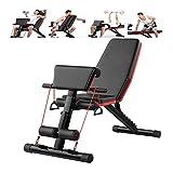 TINSAHW Home Gym Verstellbare Hantelbank Faltbare Workout Bench, Sit Up Neigung Abs Benchs Wohnung...