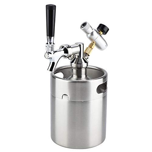 HtapsG Bierhahn 1,8 L Edelstahl-Bierfass Mit Wasserhahn Unter Druck Stehendes Bierbrauen Craft Beer Dispenser Growler Beer Keg System