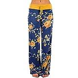 Xmiral Hose Damen Blumenmuster Gedruckte Tunnelzug Yogahosen Elastische Taille Freizeit Sport Hosen Relaxed Straight Leg Baggy Jogginghose(Gelb-Blau,S)
