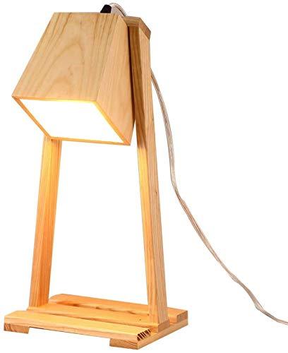 QTWW Dormitorio Luz de Lectura Decorativa Lámpara de mesita de Noche Interior Moderna con lámparas de Madera Interruptor de botón y Cuerpo Sencillez Iluminación de Escritorio de Madera para Sala
