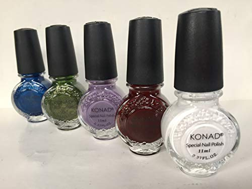 KONAD- Kit de 5 esmaltes para estampar 11ml: White, Dark Purple, Pastel Violet, Moss Green, Blue Pearl.