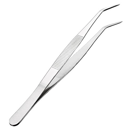 uxcell 8-Inch Stainless Steel Tweezers with Curved Pointed Serrated Tip Daily Garden Tool