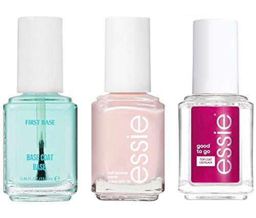 Essie First Base Basecoat + Ballet Slippers Pink Nail Polish and Good to go top Coat 1 ea