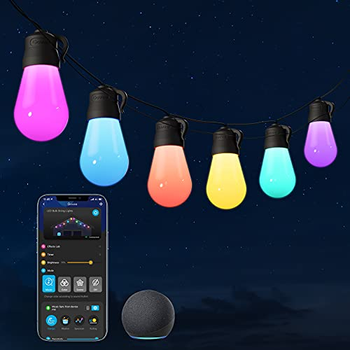 Govee Outdoor String Lights, RGBWW 48ft Patio Lights, Multi-Color Smart LED Bulbs Works with Alexa, WiFi and Bluetooth Control, IP65 Waterproof, 40 Scene Modes, Dimmable for Garden, Backyard, Party