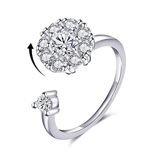 Bling Toman Cubic Zirconia Rings 925 Sterling Silver Plated Ring for Girls Womens White Gold Spinner Rings Teenage Anxiety Rings CZ Wrap Rings Mothers Gift (Silver Band Ring)