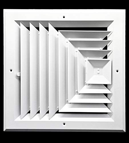 10 x 10 (in) HVAC Vent Cover - 3 WAY SUPPLY GRILLE - DUCT COVER & DIFFUSER - LOW NOISE - For Ceiling - With Opposing Damper Blades [Outer Dimensions: 13
